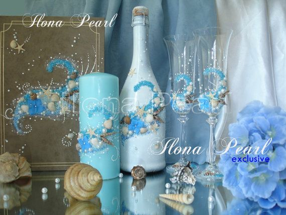 Beach Ocean Sea Turquoise Wedding Champagne by IlonaWeddingGifts