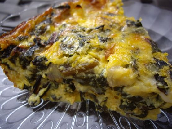 Crustless Swiss Chard Quiche Recipe - Food.com -  Husband said he would have paid money in a restaurant for this - added mushrooms and bacon.  Used 5 eggs and an Italian cheese blend and shredded parm