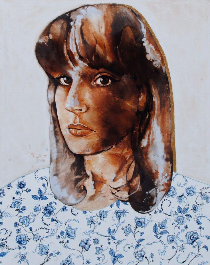 'Self-portrait with Delft' by Johanna Wilbraham. Oil on canvas, 120 x 150 cm.