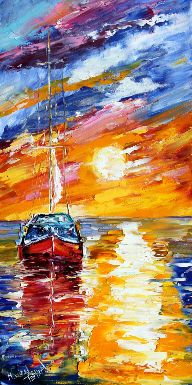Fine art Print - Sunset Sailing - from oil painting by Karen Tarlton impressionistic palette knife fine art. $34.00, via Etsy.