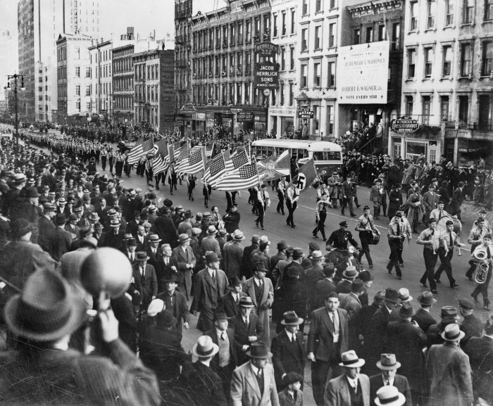 German American Bund (American Nazis) parade on East 86th St., New York City, October 30, 1939.