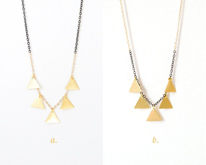Gold Dipping - Triangle Fringe Necklace - Choose One. $26.00, via Etsy.