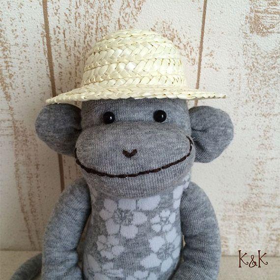 Aloha Sock Monkey Doll Boy 107  Floral Sock by KnKCraftsAndDesigns