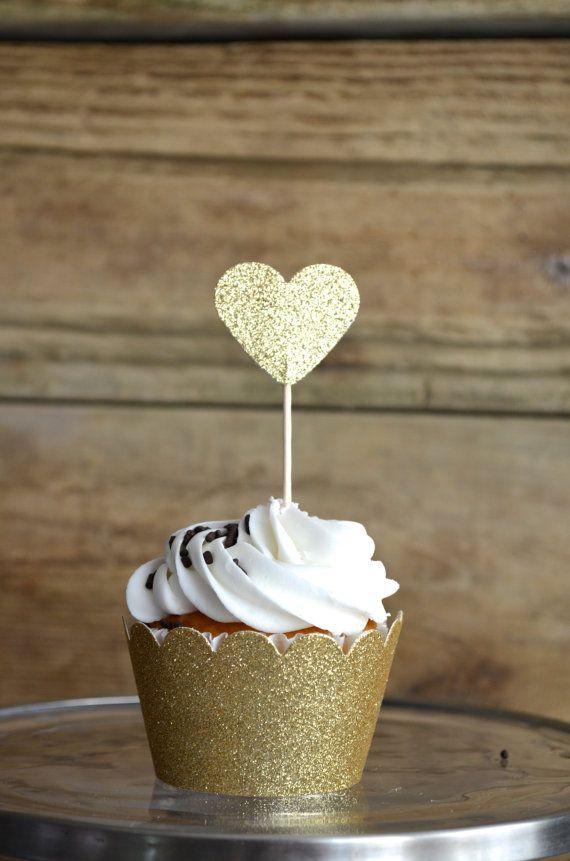 Glitter Heart Cupcake Toppers 12 bronze by thePathLessTraveled