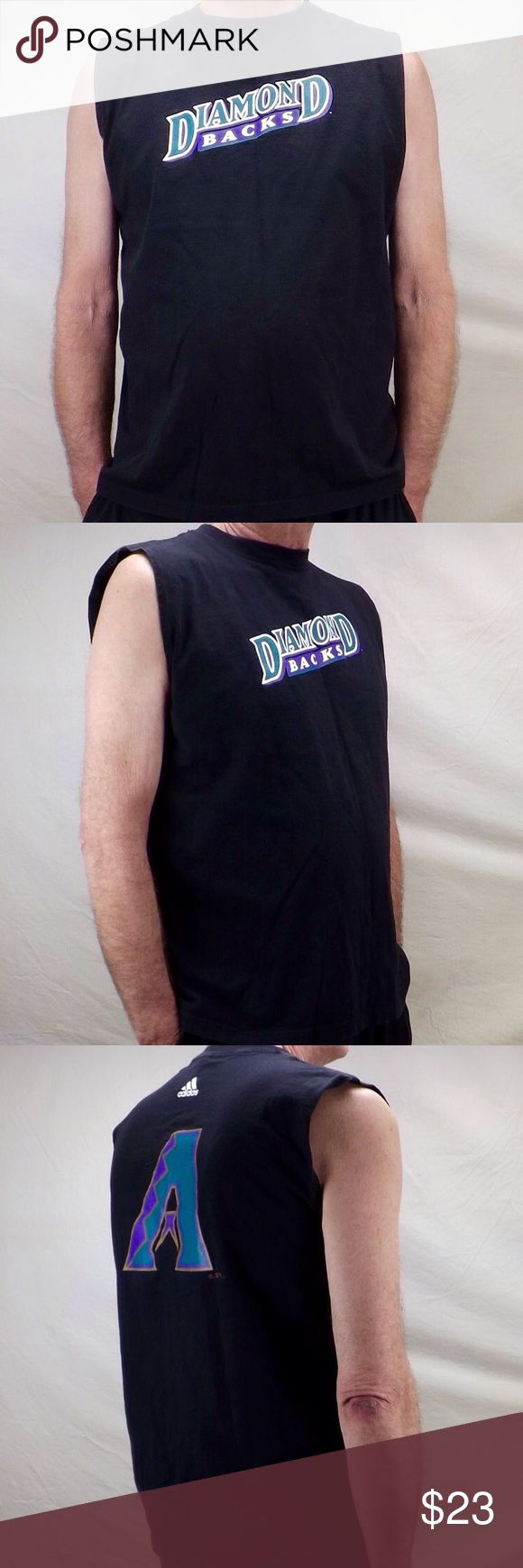 """Adidas official Arizona Diamondbacks mens tank top black crew neck sleeveless t shirt tank top Diamondbacks logo in blue and white diagonally across chest adidas in white on back along with the """" A """" logo in teal and purple good pre owned condition gently/rarely worn Adidas Shirts Tank Tops"""
