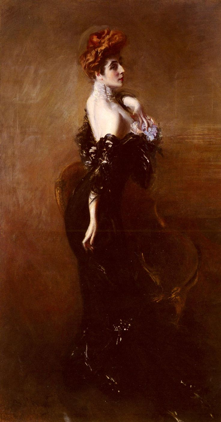 """Giovanni Boldini (1842-1931) Portrait Of Madame Pages In Evening Dress Oil on canvas  220 x 120 cm (86½"""" x 47"""") Private collection"""