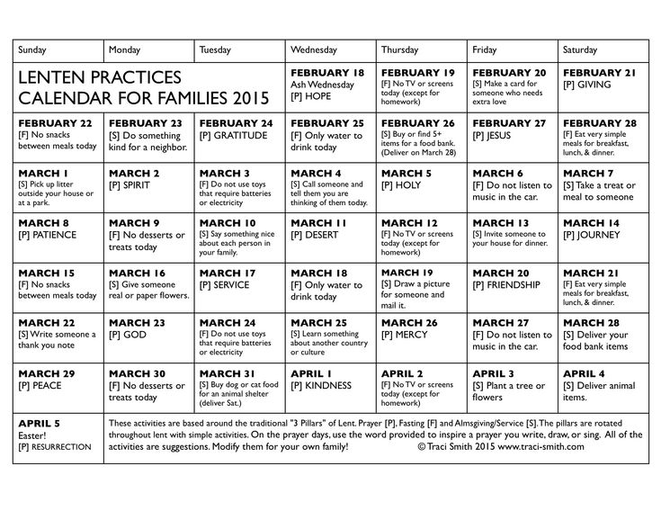 So excited to share this family Lenten Practices calendar! (PDF HERE) Each day there is either a prayer [P], service/almsgiving [S] or fasting [F] activity. The activities aren't terribly time con...