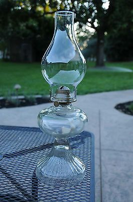Vintage Clear Glass Oil Burner Hurricane Lamp with Clear Glass Chimney
