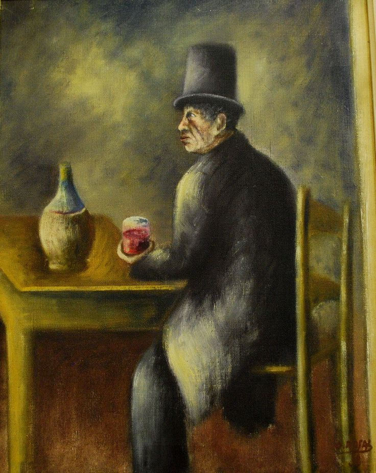 OTTONE ROSAI (1885-1957) - FIACCHERAIO CON FIASCO E BICCHIERE (1938)
