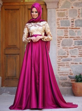 Season Evening Dress - Fuchsia-Gold - Mevra