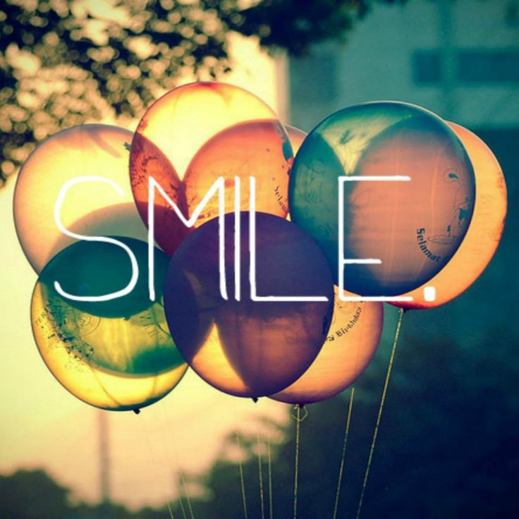 Smile Text Written On Retro Colored Ballons #iPad #Wallpaper HD