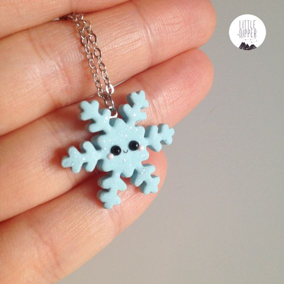 Blue Sparkling Snowflake  polymer clay jewelry от LittleDipperShop