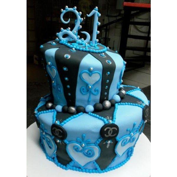 Blue And Black 2 Tier Topsy Turvy 21st Birthday CakeJPG Found On Polyvore