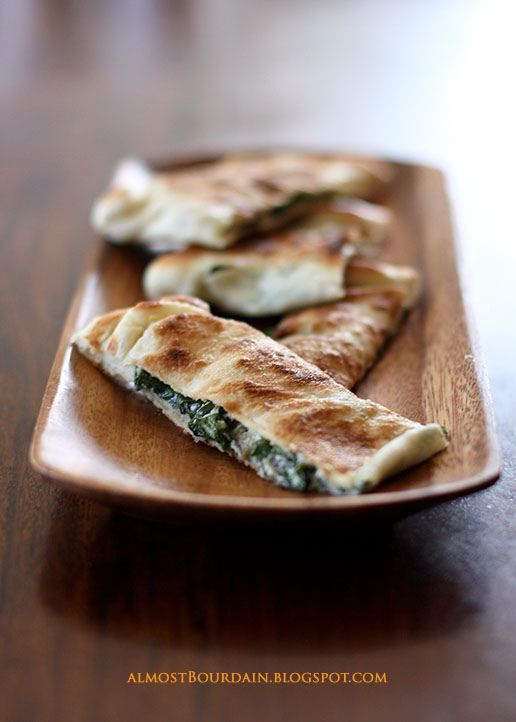 Gozleme (Turkish Pizza / Pancake) with Grilled Eggplant, Spinach and Ricotta ~ A traditional Turkish pastry with a savoury filling of feta cheese and spinach.