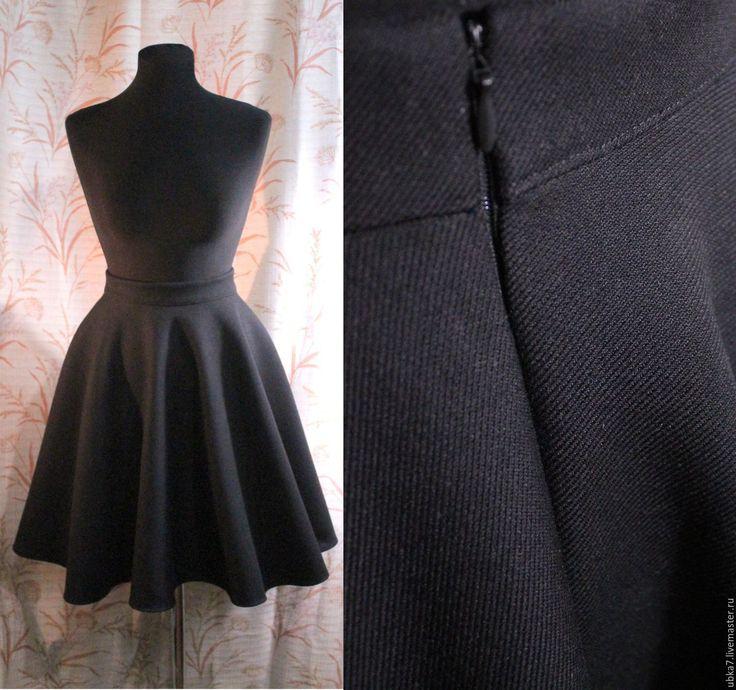 Купить Юбка солнце из плотной теплой ткани - черный, юбка, юбка солнце, юбка теплая