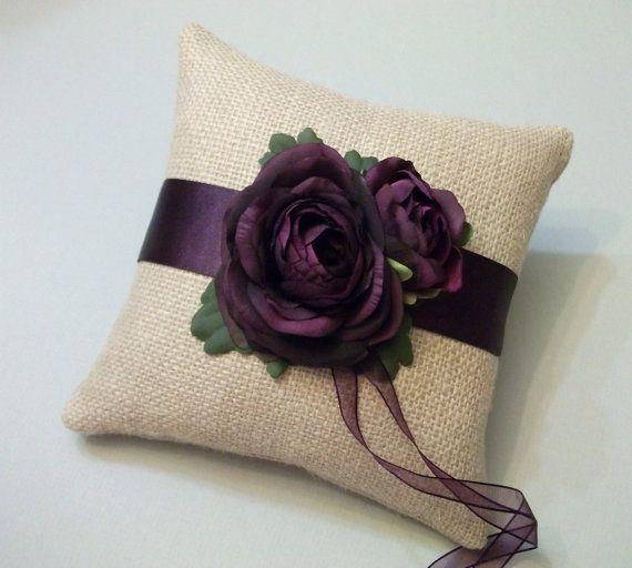 Burlap Ring Bearer Pillow with Eggplant by WhiteThistleBridal, $46.00