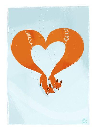 Winter Foxes Art Print