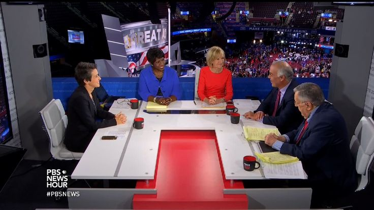 Judy Woodruff and Gwen Ifill speak with New York Times columnist David Brooks, syndicated columnist Mark Shields and Amy Walter of The Cook Political Report about the Republican ticket, Donald Trump's convention speech challenge and how running mate Mike Pence's calming demeanor is just the 'Pepto Bismol' he needs.