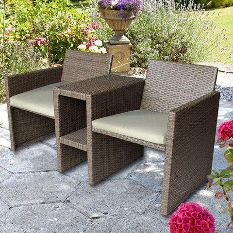 Rattan Companion Garden Bench / Love Seat, Completely Weatherproof With  Washable Cream Cushions  Great Outdoor Furniture For Your Garden Or Patio