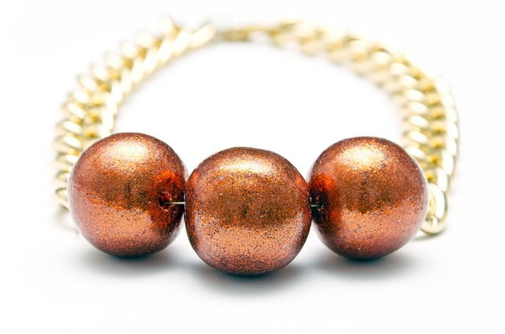 Chunky terracotta orange glitter ball necklace and chunky gold chain. Handmade in Wellington, NZ, by Shh by Sadie designer Sadie Hawker. Shhbysadie.com Spike  Bead necklace / statement jewelry / handmade