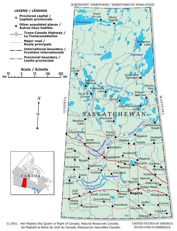 Saskatchewan - A political map of Saskatchewan showing boundaries, the provincial capital, selected populated places with names, selected drainage with names and selected roads.