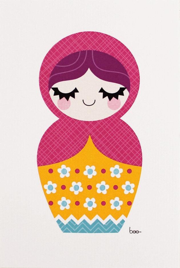 Mini Print - Matryoshka (pink scarf)