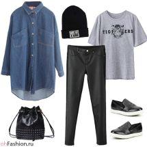 Молодежный лук. Кожаные леггинсы и джинсовая рубашка