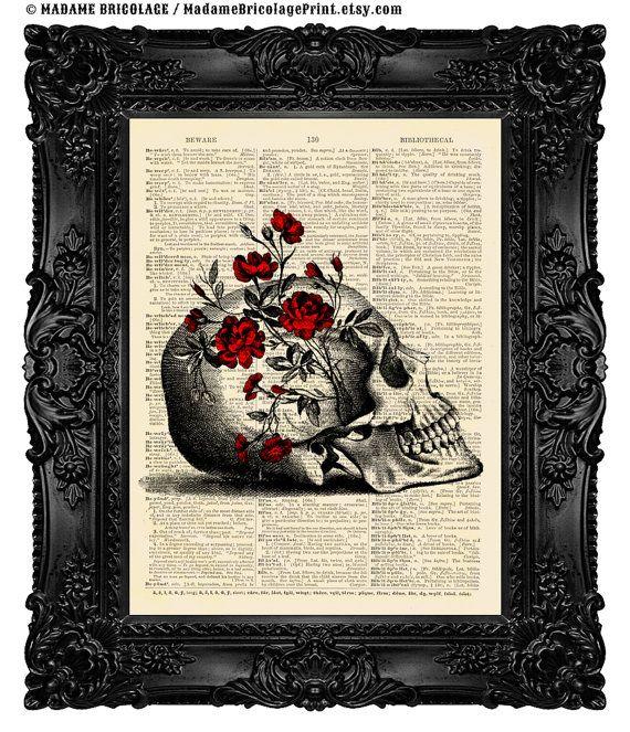 SUGAR SKULL Art Print Floral Anatomy Sugar by MadameBricolagePrint