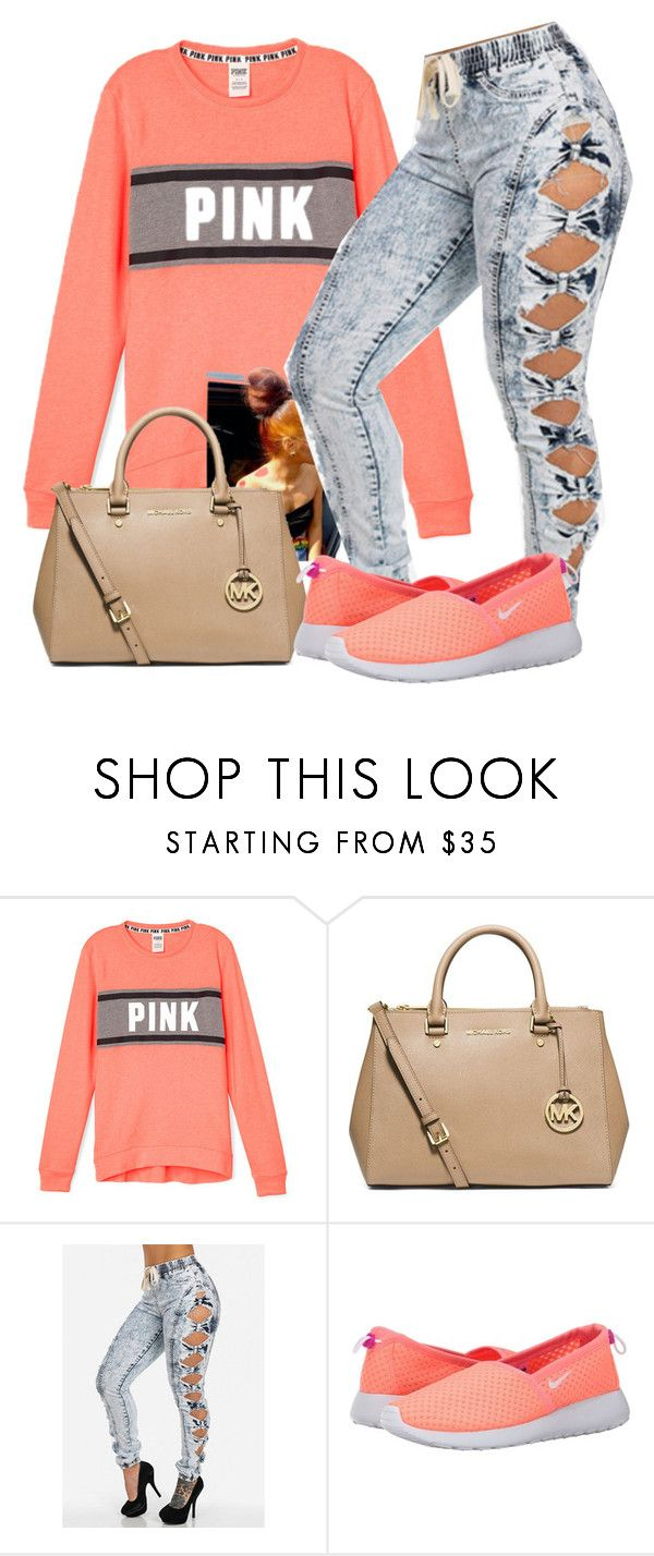 """Untitled #530"" by chynaloggins ❤ liked on Polyvore featuring MICHAEL Michael Kors and NIKE"