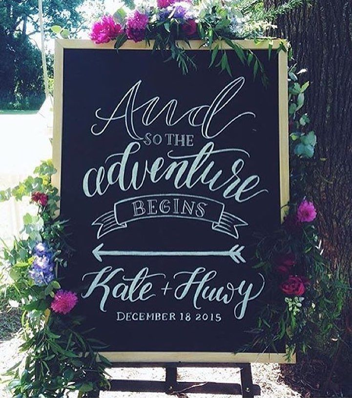 Announce your adventure on a stylish note   Chalkboards and wedding signs designed by the talented Fox and Fallow available for purchase or hire at www.lovenotes.com.au  #chalkboard #weddingsign #adventure by lovenotesaustralia