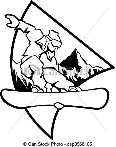 Clipart Vector of Snowboard logo - Black and white - Black and ...