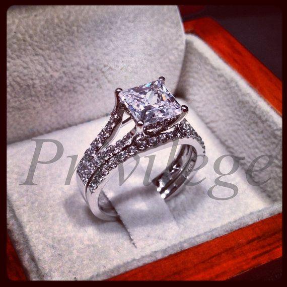 2 Carat Princess Cut Diamond Split Shank Trellis Wedding Engagement Ring Set Bridal