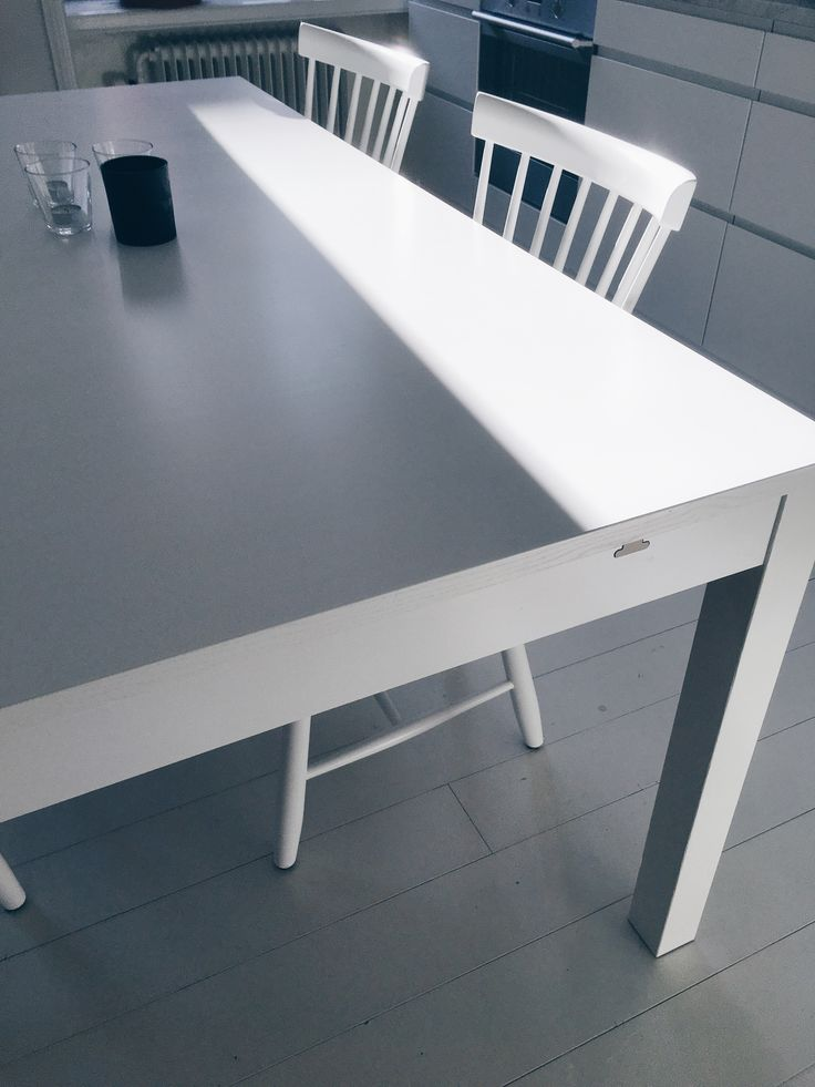 Ikea Bjursta table. Carl Malmsten Lilla Åland chair. Iittla glass.