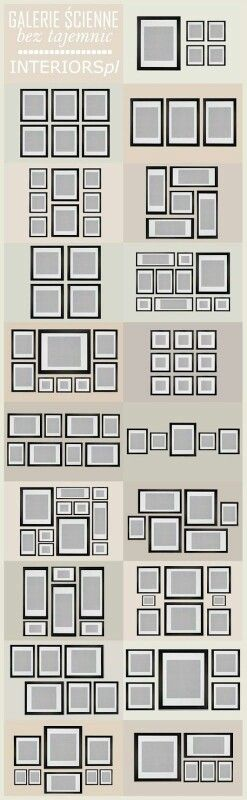 Some ideas for different ways to arrange picture frames.