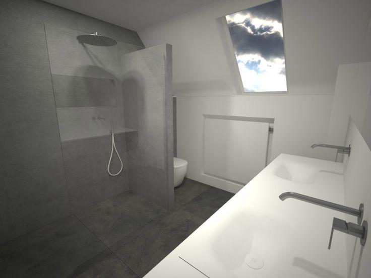 Een badkamer onder een schuin dak? Dat vraagt om creatieve oplossingen. Bekijk het ontwerp van deze badkamer met een schuin dak!