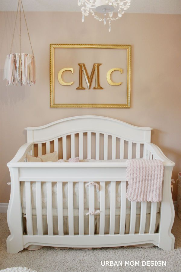 Gold framed monogram - love the look! #nursery: Framed Monogram, Gold Crib, Nursery Ideas, Nursery Crib, White Baby Crib, Baby Girl Nursery