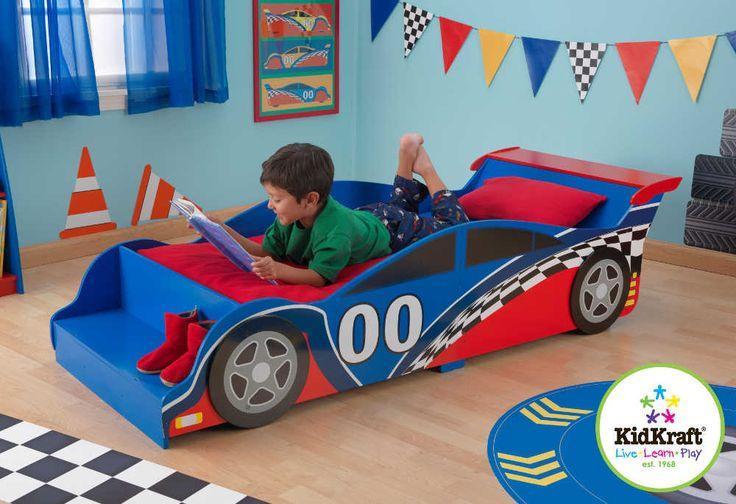 Lit pour enfant voiture de course en bois 190x75x45cm : Lit KIDKRAFT sur Jardindeco.com