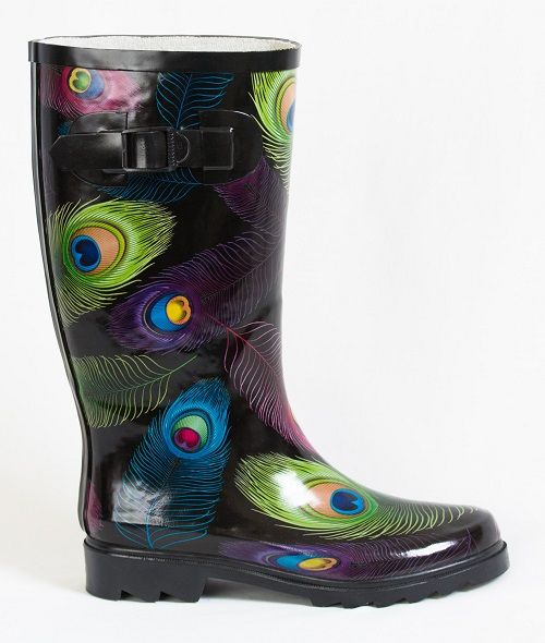 Nothing says pretty AND practical like gorgeous jewel-coloured feathers on your gumboots! Buy these 'Shake your tail feather' gumboots at www.GumbootBoutique.com