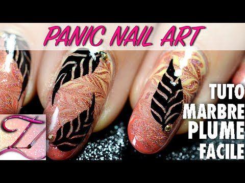 [Panic Nail Art] Tuto dégradé marbré et plume géométrique facile et rapide - YouTube