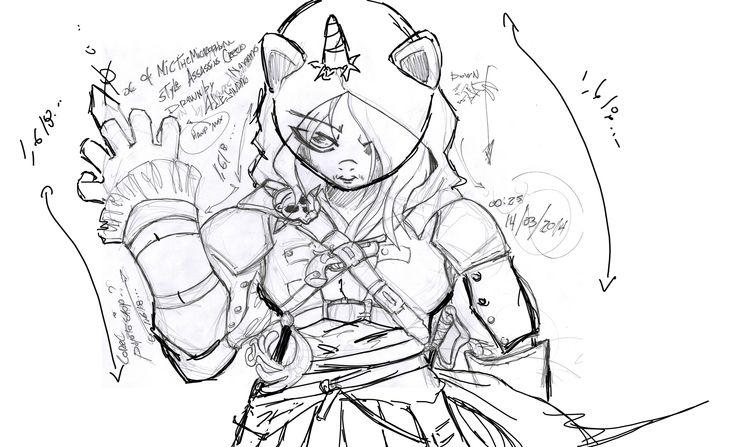 sketch Oc of Mic TheMicrophone style Assassins Creed drawn by Alejandro navarro - bosquejo Oc de Mic TheMicrophone estilo Assassins Creed dibujado por Alejandro navarro