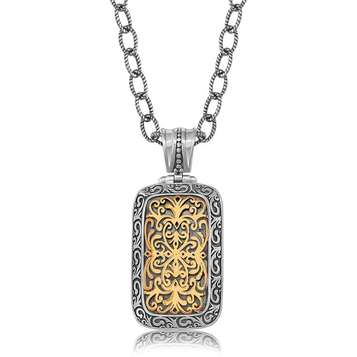 Featuring head-turning scrollwork pattern, this Baroque style rounded rectangle pendant is truly elegant. An 18K yellow gold and sterling silver piece that radi