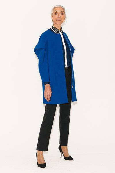 All Ages: Coats: Pam wears coat, byMSGM, MyWardrobe. Shirt, Marks & Spencer. Trousers, Acne
