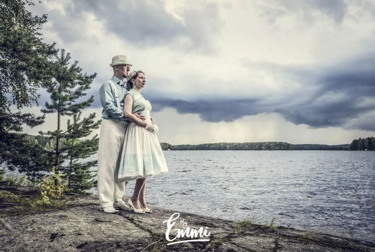 By Emmi, 50-luku, 50's, pariskunta, couple, pilvet, clouds, järvi, lake, sumen luonto, finnish nature