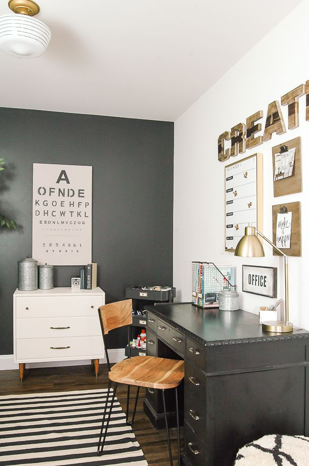 Getting inspired to redecorate your craft room? This stylish home office has ideas for everything from how to organize your paints and crafting supplies to unique wall decor!