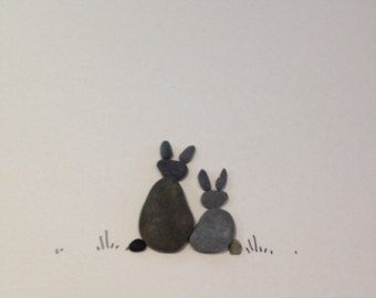 6 by 8 couple of bunnies pebble art by Sharon Nowlan