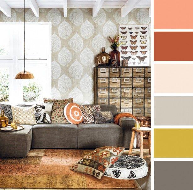 Kleurenpalet 'back to nature' van 101 woonideeën. Mooie warme kleurencombi met zachte stoffen en stoere items.