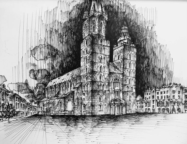 Architecture sketches made by Mikołaj Kusior on Behance