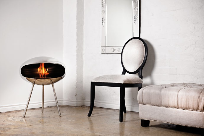 Stainless-Steel Cocoon Terra (Bio-Fuel) Fireplace,