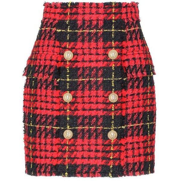 Balmain Plaid Tweed Mini Skirt (€1.300) ❤ liked on Polyvore featuring skirts, mini skirts, balmain, red, red mini skirt, short skirts, red skirt, red tartan mini skirt and short mini skirts