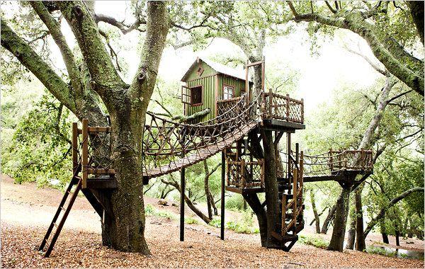 Tree Fort! : Kids Playhouses, Rope Bridge, Playhouses Treehouses, Dream, Tree Houses, Forts Treehouses, Trees, Bridges, Play Houses